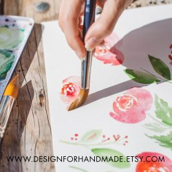 Watercolor flowers painting by Claudia Orengo from Heartmade.es