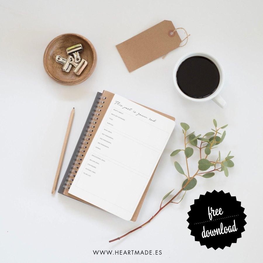 free printable planner for good SEO posts