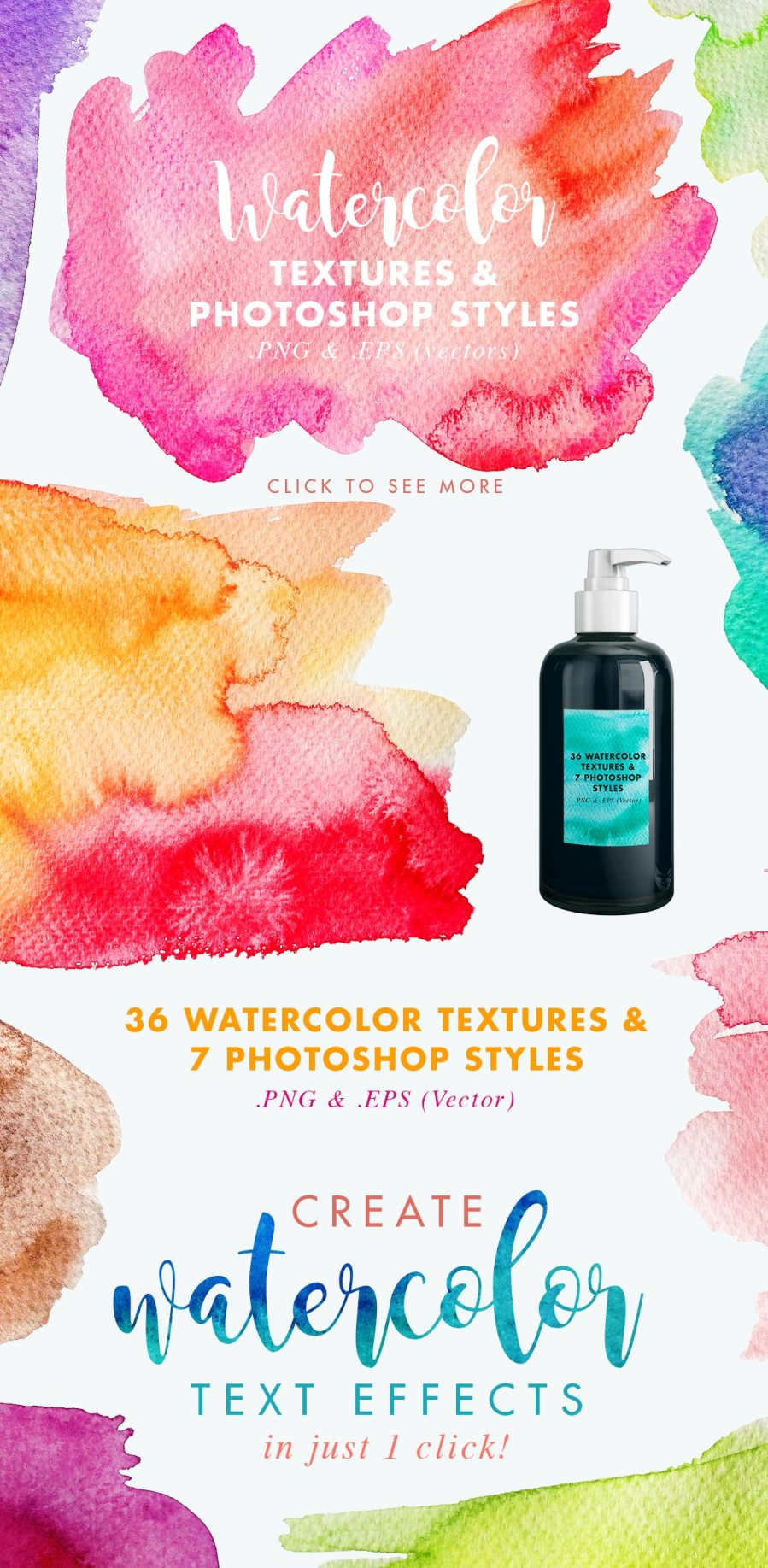 How to create a watercolor text effect in Photoshop: tutorial + watercolor textures download