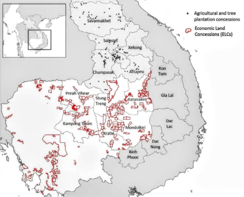 Concession locations in the 'development triangle,' where Cambodia, Laos and Vietnam meet. The map is based on 2013 data from Lao Decide Info and Open Development Cambodia. Image: CIFOR   Read more: http://news.mongabay.com/2015/0615-cuddy-opacity-SEA-land-rush.html#ixzz3dsfX938h