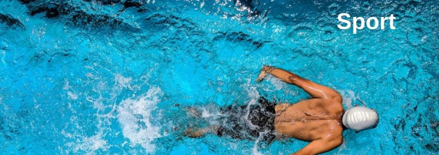 Sport - a man swims in a pool