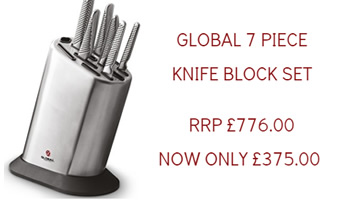 Global 7 Piece Knife Block now £375.00, RRP £776.00