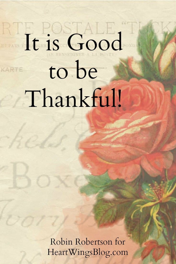 Robin Robertson gives insight on being Thankful at HeartWings Blog!