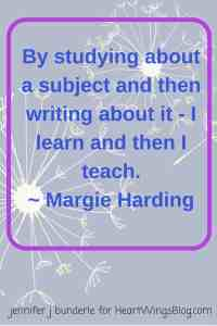 Margie Harding featured on HeartWIngsBlog.com talks about teaching and writing.