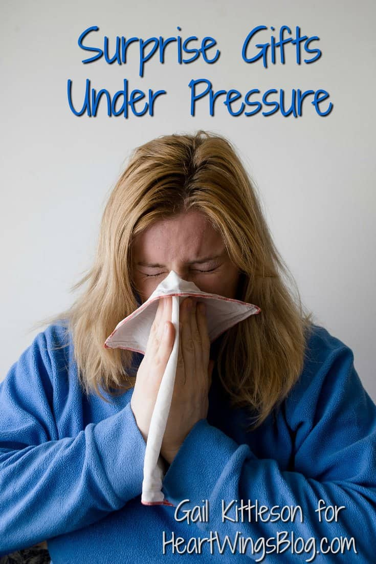 Surprise Gifts under Pressure can be such a blessing! Gail Kittleson tells you how at HeartWingsBlog