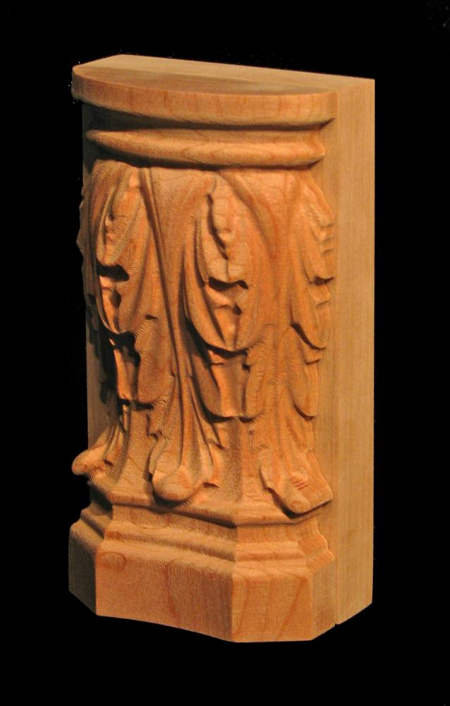 Plinth Block Acanthus Leaf Carved Wood