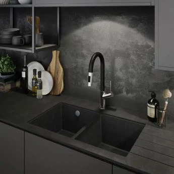 abode matrix sq gr15 2 0 bowl granite undermount kitchen sink 758mm l x 460mm w grey metallic