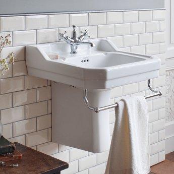burlington edwardian basin with semi pedestal excluding towel bar 560mm wide 1 tap hole