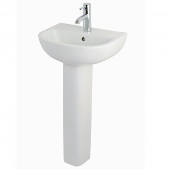 rak compact basin with full pedestal 450mm wide 1 tap hole