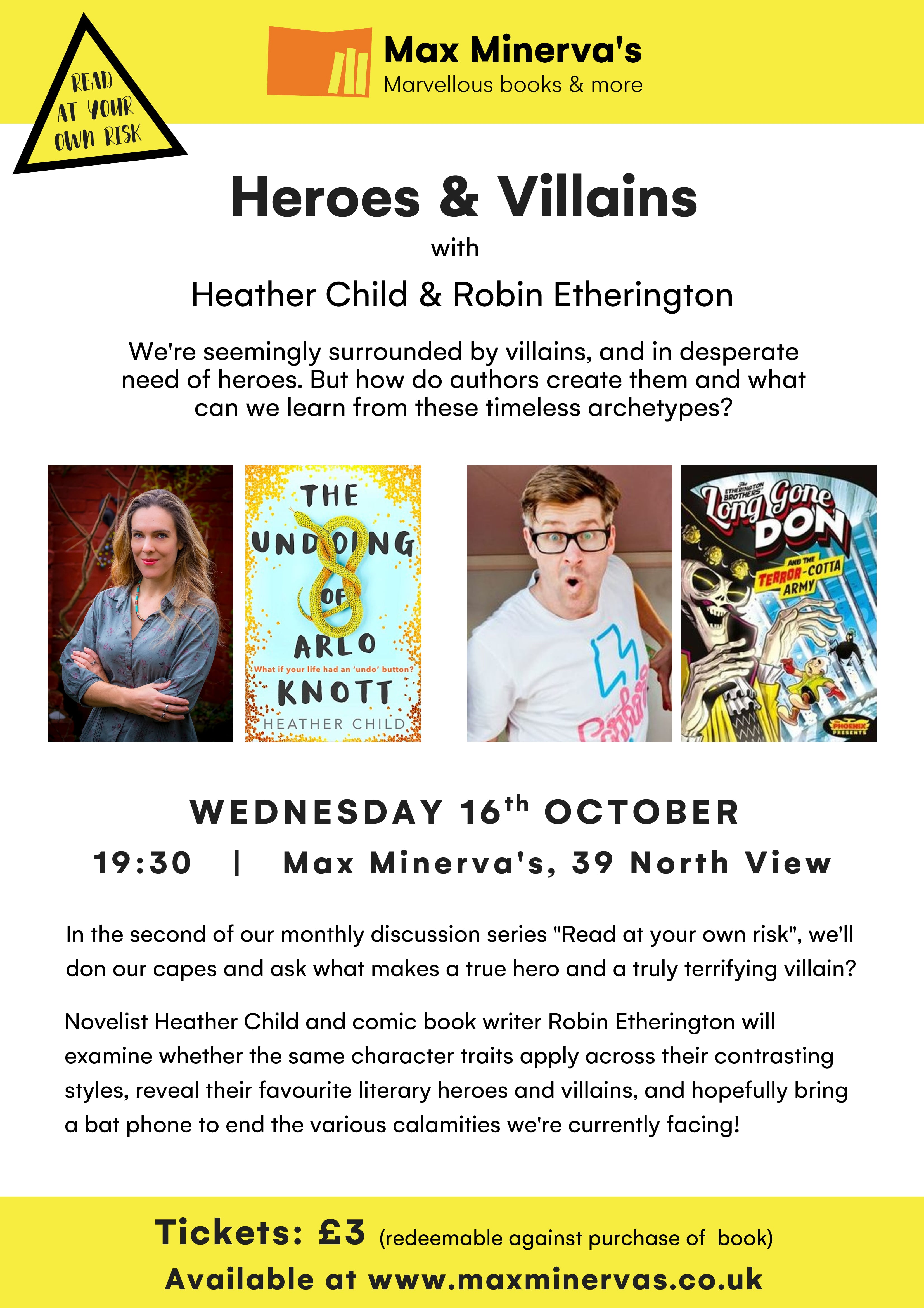 Poster for book event with Heather Child at Max Minervas bookshop