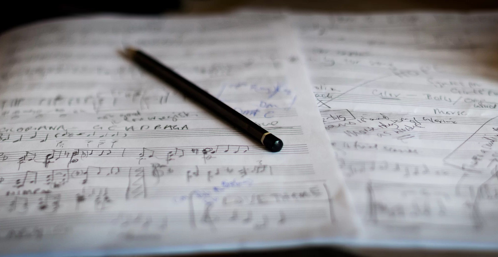 handwritten musical score with pencil