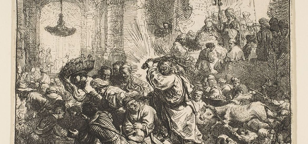 CHRIST DRIVING THE MONEY-LENDERS OUT OF THE TEMPLE, REMBRANDT