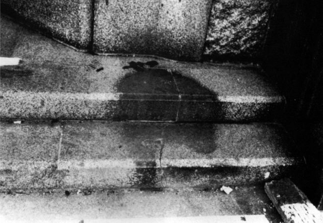 World War II, Human shadow on bank steps, in Hiroshima after the explosion of the atom bomb in August 1945, Japan. Getty Images