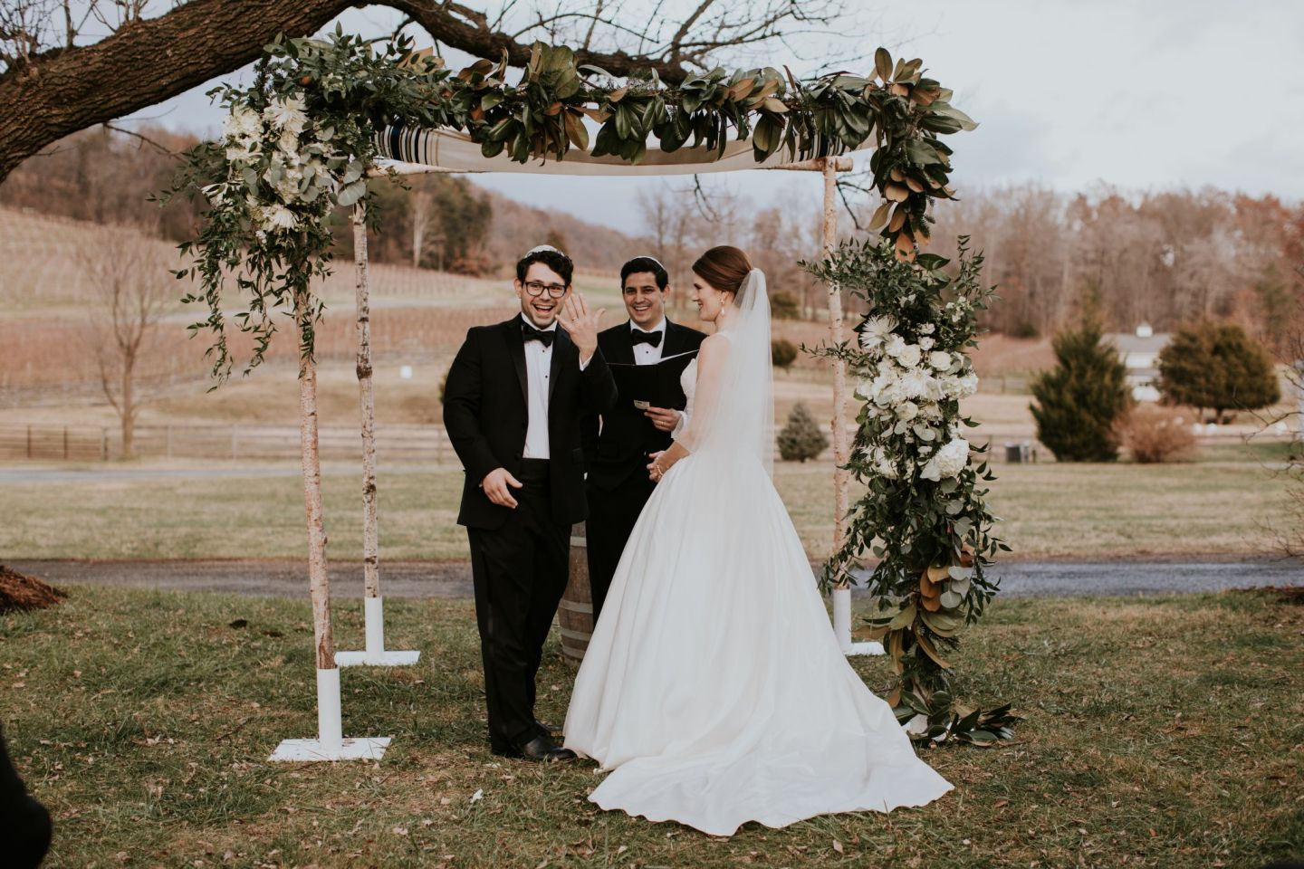 jewish wedding ceremony - veritas wedding - farmhouse at veritas wedding - charlottesville wedding