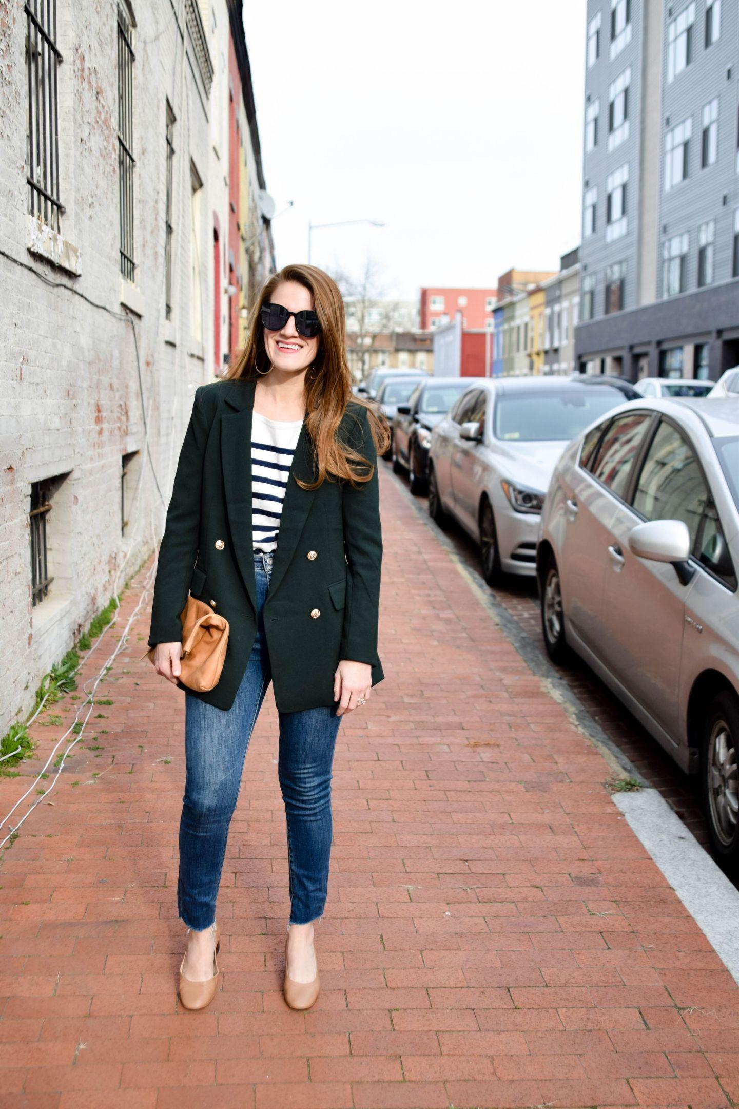 h & M blazer - h & M hunter green blazer - everlane day heels - parker street dc