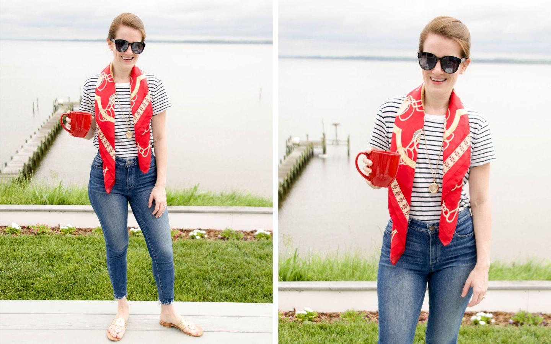 t-shirt with silk scarf - red silk scarf - madewell striped t-shirt - j. mclaughlin scarf - j. mclaughlin silk scarf