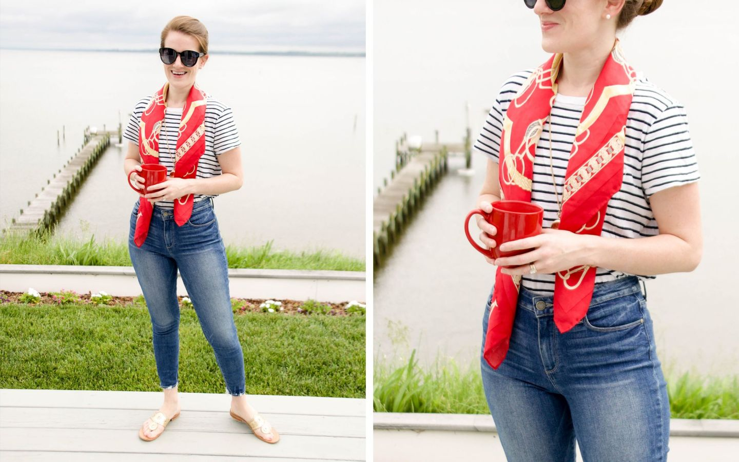 t-shirt with silk scarf - red silk scarf - madewell striped t-shirt - j. mclaughlin scarf - j. mclaughlin silk scarf