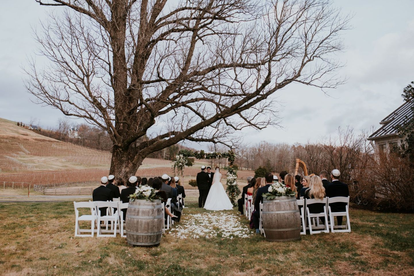 farmhouse at veritas wedding - what's it like to have a small wedding - winter wedding - december virginia wedding
