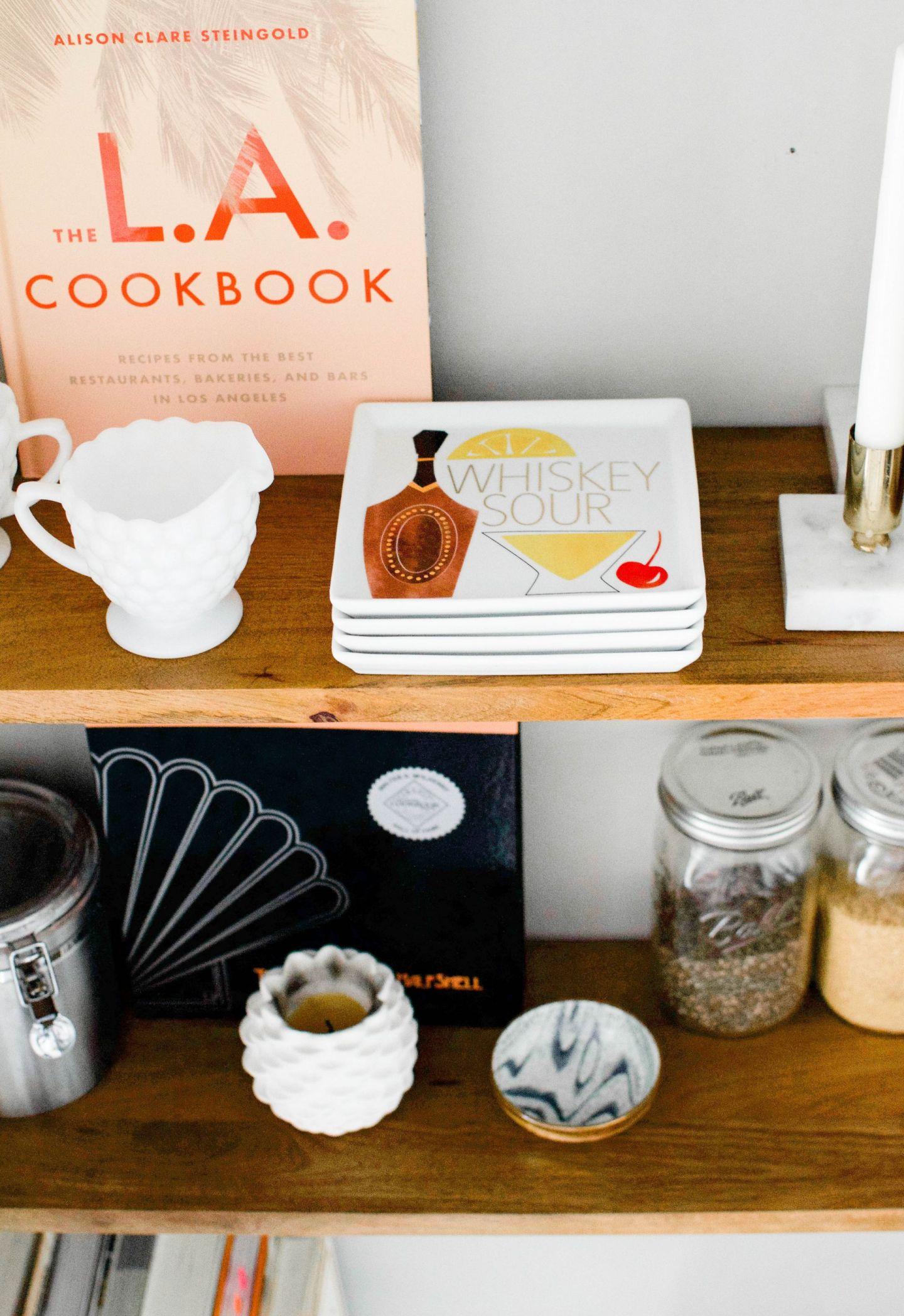 west elm linear wood interchangeable shelves - west elm floating shelves - kitchen open shelving - small space kitchen storage