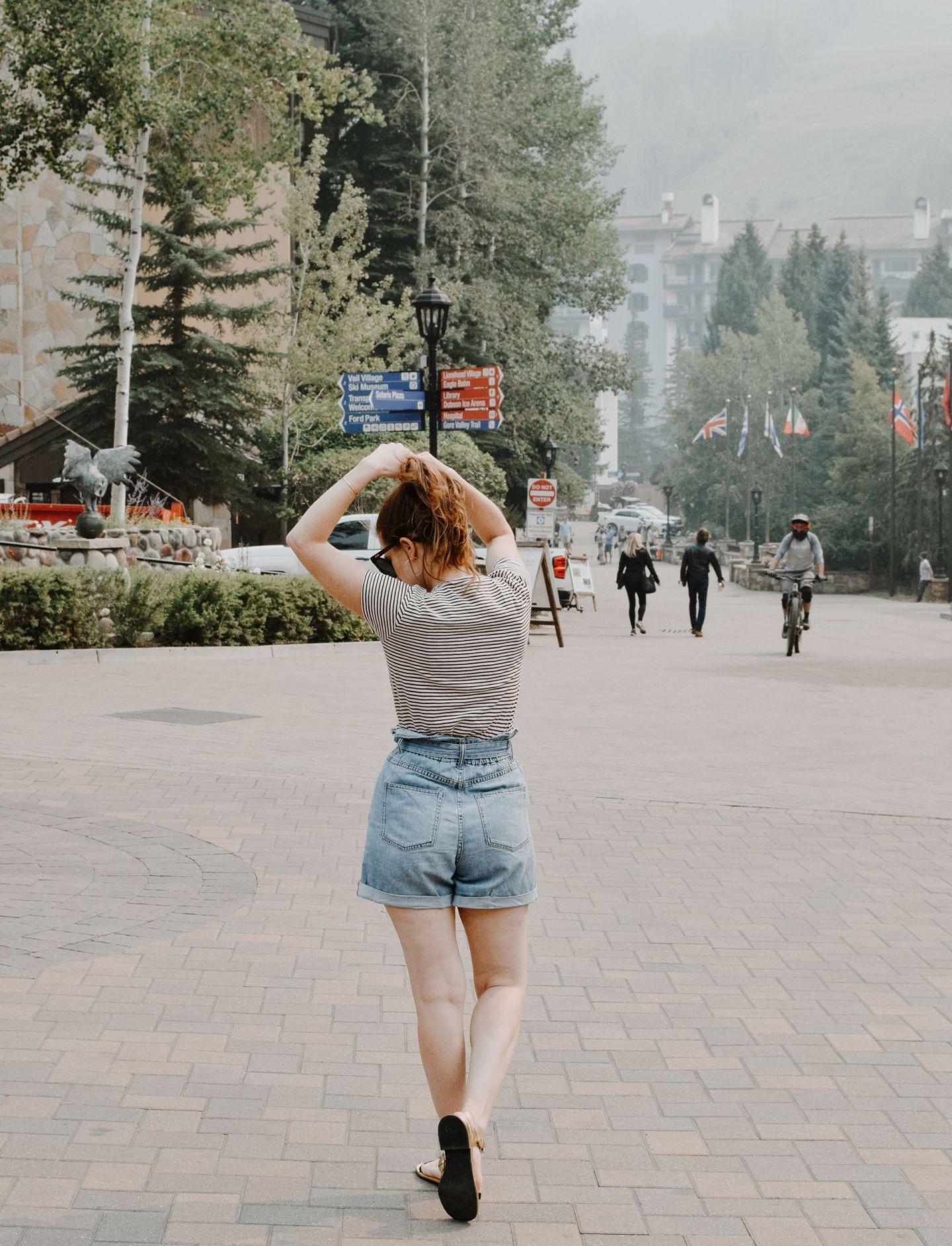 h&M denim paper-bag shorts - h&m jean shorts - best mom jean shorts