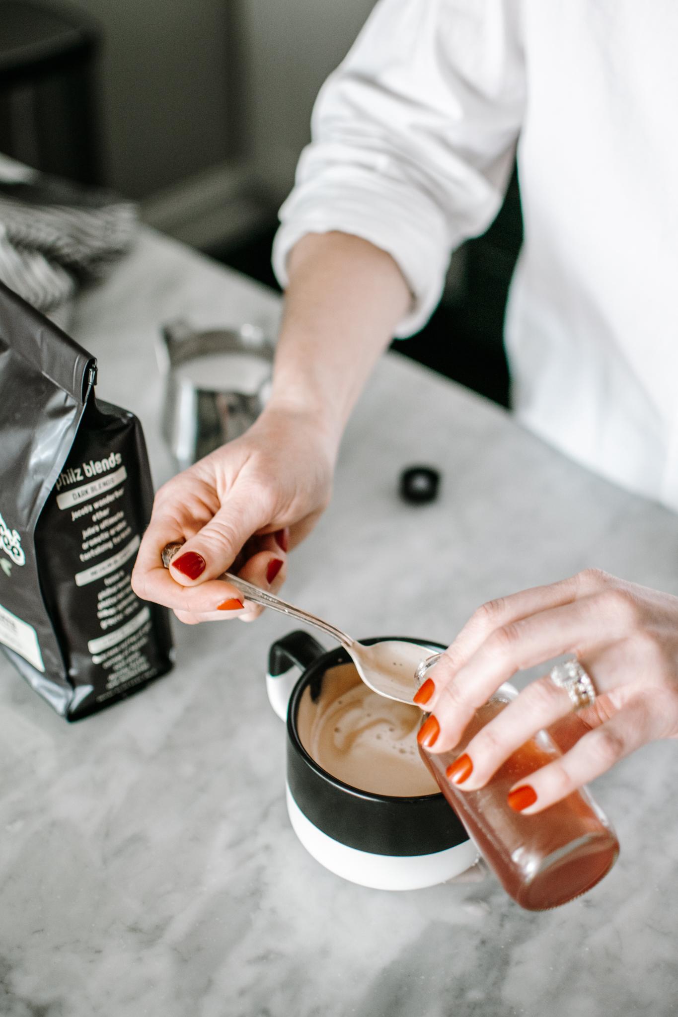 lavender honey latte - lavender honey simple syrup - how to make a lavender espresso drink
