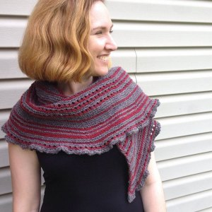 Shuffle, a hand knit pattern, for a fun and unique crescent shawl.
