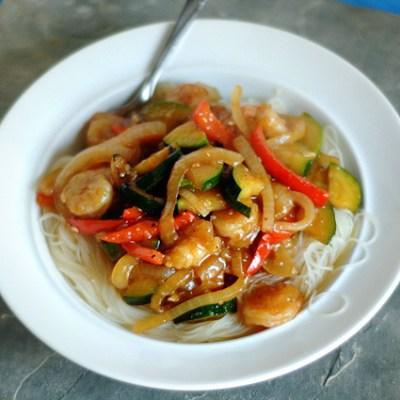 Sweet Garlic Chili Shrimp with Rice Noodles