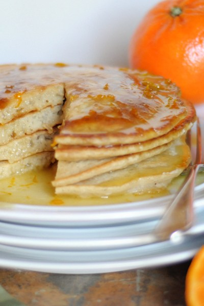 Very Vanilla Pancakes with Creamy Orange-Scented Drizzle