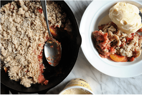 Roasted Strawberry and Peach Cobbler