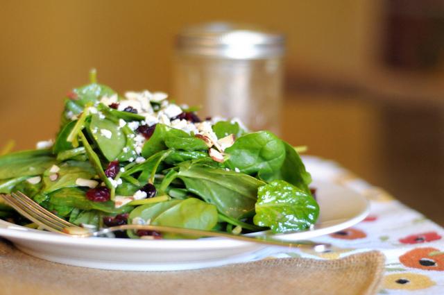 Spinach Salad with Gorgonzola, Cranberries, Almonds and Honey Garlic Vinaigrette from @HeathersDish