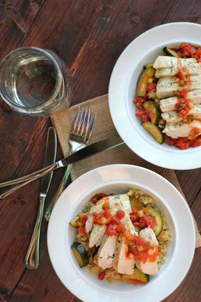 Mediterranean Zucchini, Tomato and Chicken Skillet