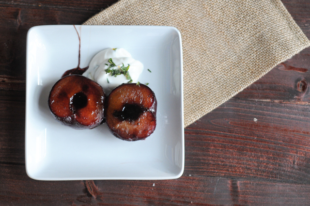Roasted Maple Balsamic Plums with Honey Basil Greek Yogurt || Heather's Dish