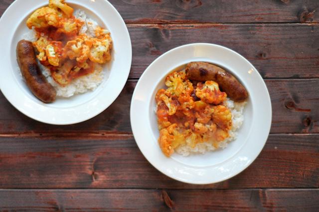 Roasted Cauliflower and Italian Sausage || Heather's Dish #onepot #skilletdinner #cauliflower #quickandhealthy