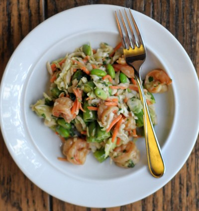 Asian-Inspired Chopped Salad with Ginger Shrimp