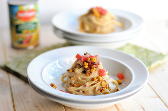 Creamy Fiesta Corn Fettuccine Alfredo - Lightened Up! || HeathersDish.com #pasta #healthypasta #lightenedup