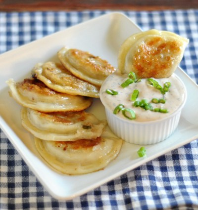 Seared Garlic Butter Pierogi with Creamy Dill Dip || HeathersDish.com