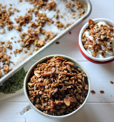 Maple-Sweetened Nutty Granola || HeathersDish.com