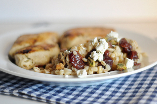 Wheatberry-salad with-cherries-gorgonzola-and-pistachios