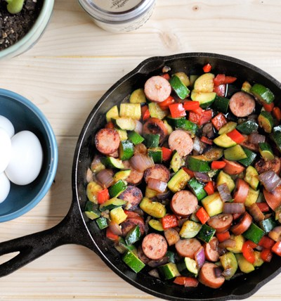 Sweet and Spicy Southwestern Vegetable Hash with Hardboiled Eggs