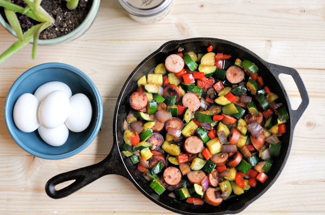 Sweet and Spicy Southwestern Vegetable Hash with Hardboiled Eggs    HeathersDish.com