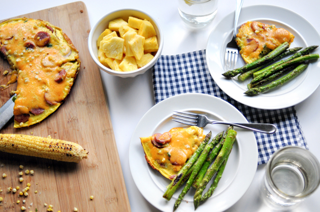 Fresh Corn and Smoked Sausage Frittata || HeathersDish.com