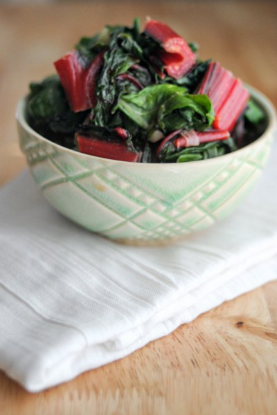Sauteed Rainbow Chard with Shallots and Garlic