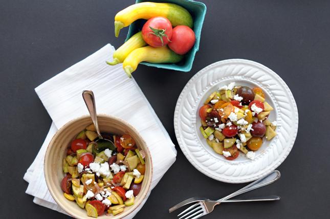 Marinated Tomato and Zephyr Squash Salad || HeathersDish.com #raw #cleaneats #healthy #seasonal