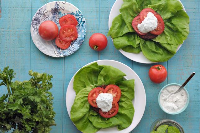 Greek Roasted Garlic Quinoa Lettuce Burgers || HeathersDish.com #ad