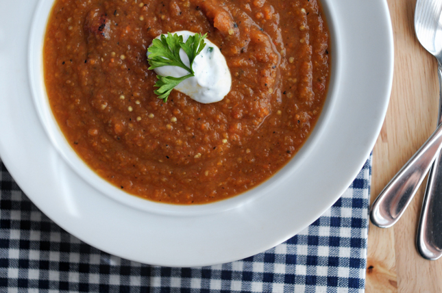 Summer Market Soup + Garlicky Greek Yogurt || HeathersDish.com