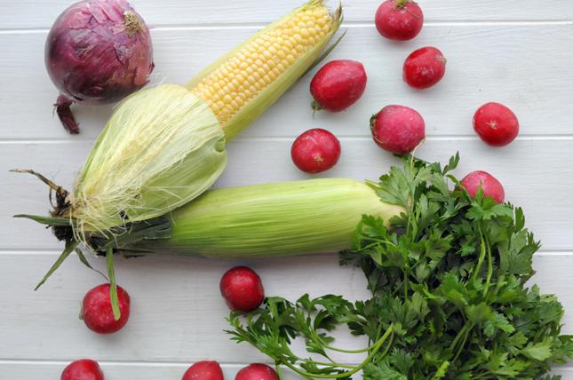 Roasted Radish & Fresh Corn Salad || HeathersDish.com