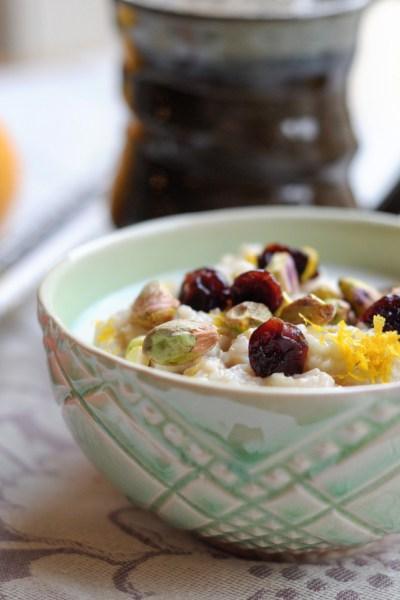 Cherry Pistachio Oatmeal || HeathersDish.com #breakfast