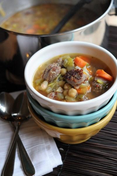 Sausage, Leek & White Bean Soup || HeathersDish.com