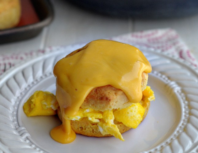 Egg Biscuit Sandwiches with Cheesy Gravy