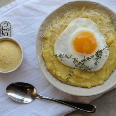 Parmesan Thyme Polenta with Eggs